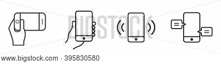 Mobile Phone Line Icon. Mobile Phone In Hand. The Smartphone Vibrates. Hand Holding A Smartphone. Ve