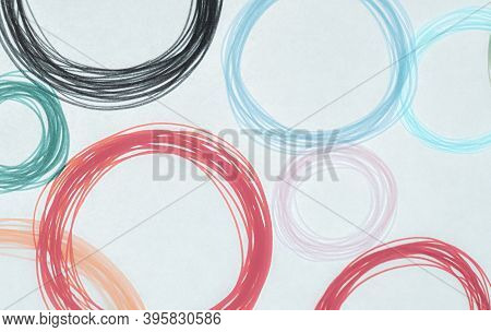 Red Scribble Circle Texture. Watercolour Round Elements. Light Artistic Painting. Stylish Tile Desig