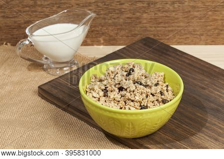 Healthy Food; Crunchy Granola Sweetened With Honey, Has Raisins.