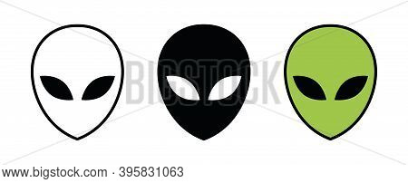 Alien Icon. Extraterrestrial Black Green Symbol And Outline. Vector Illustration Isolated On White B