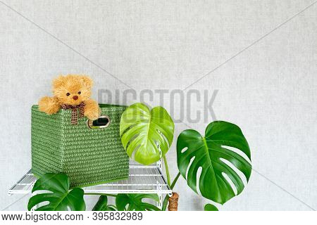 A Toy Bear Peeks Out Of A Large Green Storage Box. Grid System For Organizing Storage In A Modern Ho