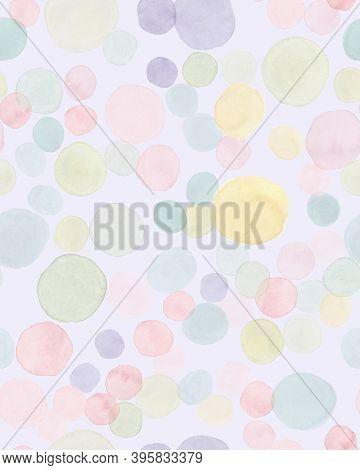 Seamless Polka Illustration. Modern Birthday Confetti. Rainbow Round Paper. Watercolor Kid Fabric. P