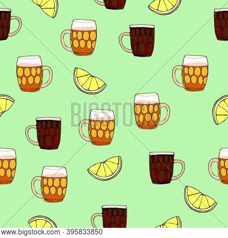 Lager Set With Snacks. Hand Drawn Cartoon Style Illustration. Beverage Pattern. Glass Cup. Bright Co