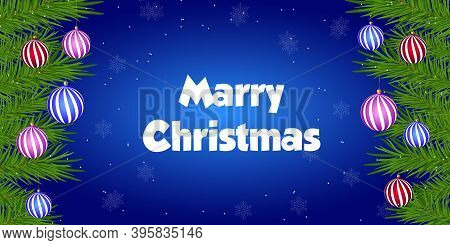 Merry Christmas And Happy New Year Background. Christmas Tree Branches With New Year's Toys On A Blu