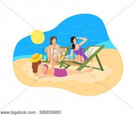 Three Women Relax And Sunbathe On The Beach. Sea, Tan, Sun, Deckchairs. Girlfriends Went On Vacation