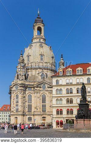 Dresden, Germany - September 11, 2020: Historic Frauenkirche Church At The Neumarkt Square In Dresde