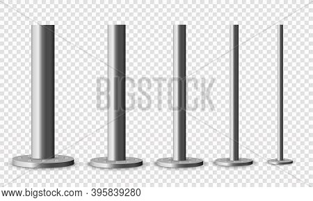 Set Of Metal Columns. The Steel Element Of The Truss Beam. Metal Pole Posts, Steel Pipes Of Various