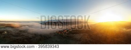 Aerial View Of The Large And Beautiful Moravian Royal Castle Veveri (burg Eichhorn), Standing On A R