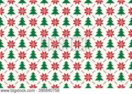 Winter Holiday Pixel Seamless Pattern. Christmas Tree And Christmas Star Argyle Ornament. Vector Sea