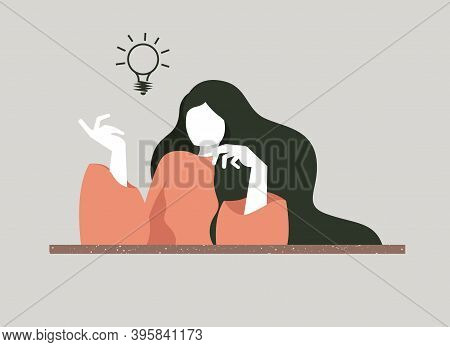 Vector Illustration Of A Girl Who Caught The Idea. Pondering Different Options For Thoughts, The Gir