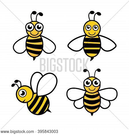 Bee Character Set Icon. Cute Bees Collection. Vector Illustration Isolated On White.