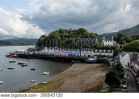 Portree, Scotland - August 4, 2019: The Quay Street In Portree, Scotland, Uk With Typical Scottish H