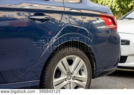 Ostrava, Czech Republic - October 15, 2019: Scratches On A Rear Mudguard Of Peugeot 301 Car Made By