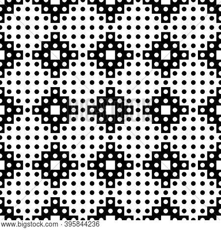 Seamless Pattern. Inca Crosses, Circles Ornament. Ethnic Embroidery Background. Tribal Wallpaper. Et