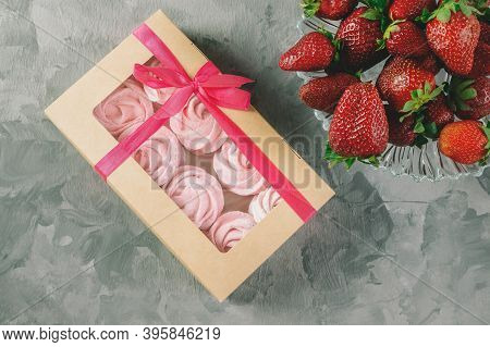 Fresh Handmade Strawberry Marshmallows In A Light Mood. Close-up Of A Pink Marshmallow In A Gift Box