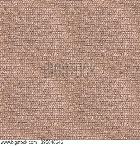 Beige Woolen Thread. Organic Knitting Pullover. Knitwear Warm Illustration. Soft Scandinavian Canvas