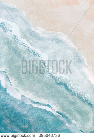Boho Sea Beach With Waves Print. Abstract Background. Bohemian Printable Wall Art, Boho Poster, Past