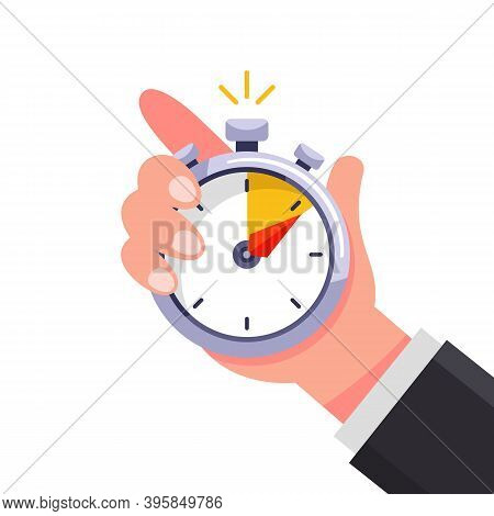 The Coach Holds A Stopwatch In His Hand And Marks The Time. Flat Vector Illustration Isolated On Whi