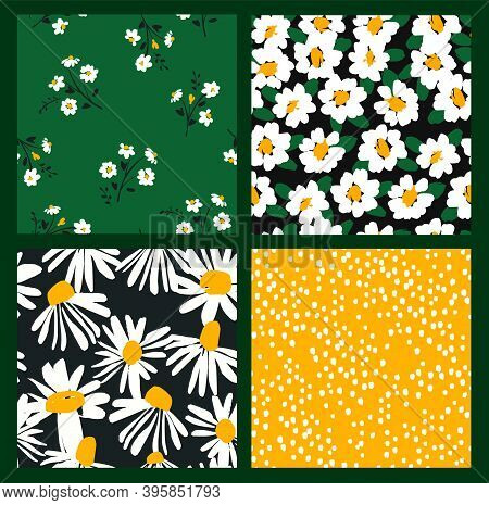 Abstract Floral Seamless Patterns With Chamomile. Trendy Hand Drawn Textures. Modern Abstract Design