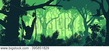 Beautiful Vector Landscape Of A Rainforest Jungle With Orangutan Monkeys And Lush Foliage In Green C