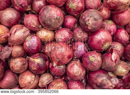 A Background Of A Large Number Of Medium-sized Purple Onion Bulbs. Background From Vegetables On A S