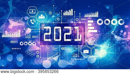2021 New Year Concept With Technology Blurred Abstract Light Background