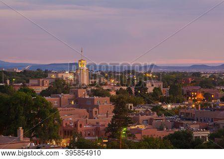 Downtown Santa Fe, New Mexico At Dusk