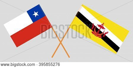 Crossed Flags Of Brunei And Chile. Official Colors. Correct Proportion. Vector Illustration