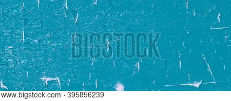 Blue Abandoned Texture. Paint Timber Structure. Teal Crackle Stencil. Natural Dirty Abandoned Textur