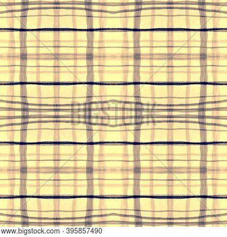 Blue Square Plaid. Seamless Textured Kilt. English Tartan Fabric. Classic Retro Border. Square Plaid