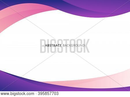 Abstract Business Template Pink And Purple Gradient Wave Or Curved Shape Isolated On White Backgroun
