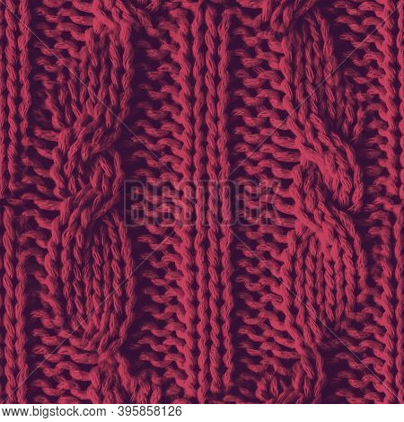 Scandinavian Christmas. Organic Knitted Pattern. Red Nordic Blanket. Jacquard Holiday Material. Seam