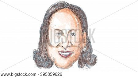 Nov 21, 2020, Auckland, New Zealand: Caricature Illustration Of American Vice President Elect Of The