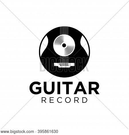 Vinyl Record And Electric Guitar Logo Template. Guitar Music Disc Vector Design. Gramophone Vinyl Re