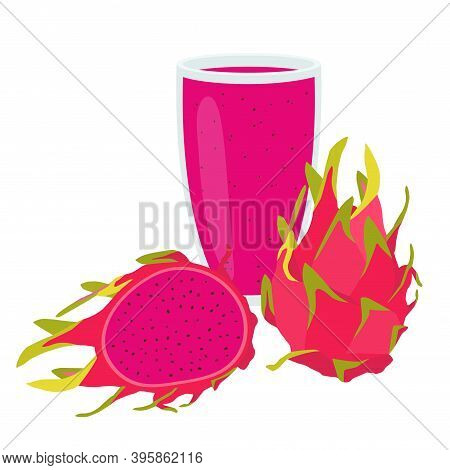 A Glass Of Pitaya Juice. Healthy Food. Vector Illustration Eps.
