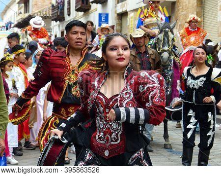 Cuenca, Ecuador - December 24,2019: Christmas Parade Pase Del Nino Viajero (traveling Child) In Hono