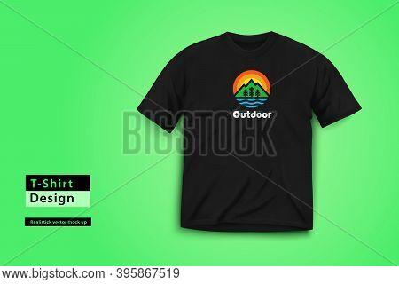 Men Realistick T-shirt. Wilderness Print. Vector Illustration