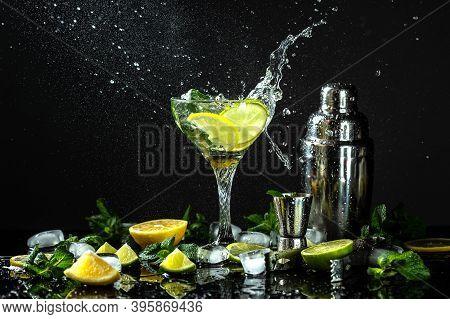 Lemon Frozen Granita Slush Drink In Glasses. Italian Granita Dessert, Refreshing Summer Slush Drink