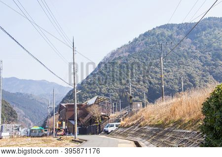 Sagano Torokko Or Sagano Romantic Train Station. It Is A Train Route For Sightseeing Popular In Kyot