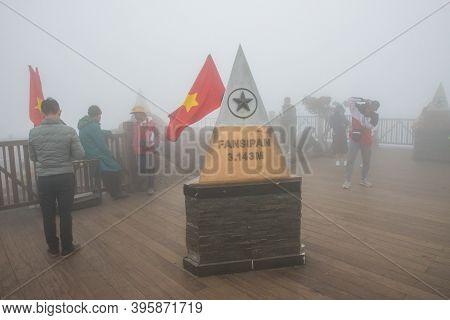 Sa Pa, Vietnam : March-27-2019 : Tourist Visiting Fansipan (3,143 Metres) The Highest Mountains Peak