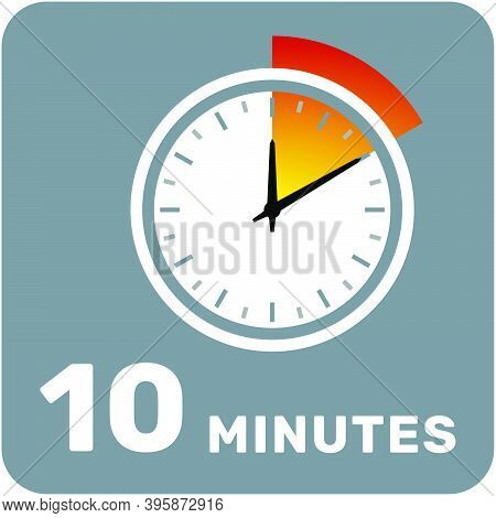 10 Minutes, Analog Clock, Isolated Timer Icon. Vector Illustration, Eps.