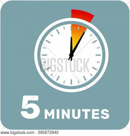 5 Minutes, Analog Clock, Isolated Timer Icon. Vector Illustration, Eps.