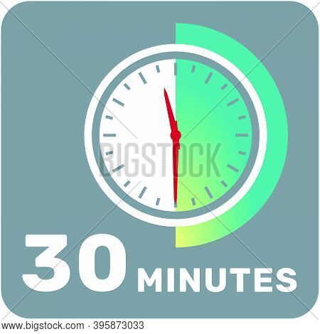 30 Minutes, Analog Clock, Isolated Timer Icon. Vector Illustration, Eps.