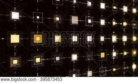 Cyberspace With Pulsating Squares. Animation. Pulsating Shining Squares Are Connected By Lines Along