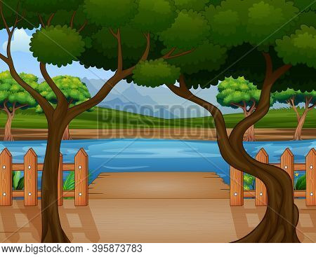 Wooden Port Overlooking The River And Nature