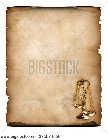 Old piece of parchment with justice scales symbol in the corner Yellowish vintage paper background isolated on white Legal letter concept