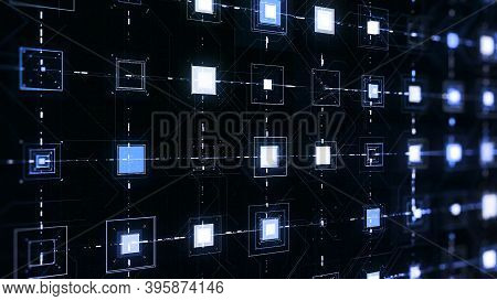 Pulsating Squares On Black Background. Animation. Electronic Squares Pulsate With Connected Lines On