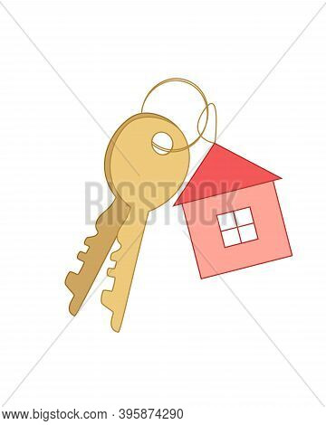 Keys On A Bunch And A Keychain In The Form Of A House. Concept Of Keys To Housing, Buying Or Renting