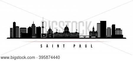 Saint Paul Skyline Horizontal Banner. Black And White Silhouette Of Saint Paul City, Minnesota. Vect