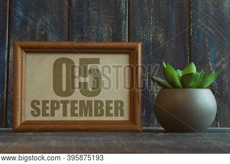 September 5th. Day 5 Of Month, Date In Frame Next To Succulent On Wooden Background Autumn Month, Da